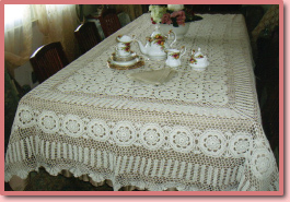 Anna Graber Originals lace tablecloth - click for a larger version